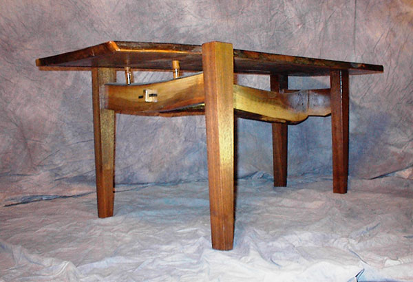 Walnut floating-top table