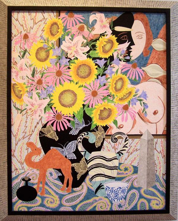 """Roger Sandes, STILL LIFE WITH CAMEL & OBELISK, acrylic on panel, 41""""x33"""" (including frame)"""