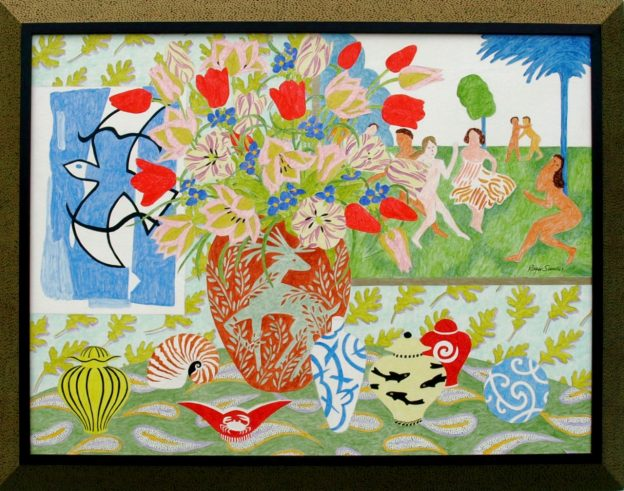 """Roger Sandes, RITE OF SPRING, acrylic on panel, 36"""" x 46"""" including frame"""